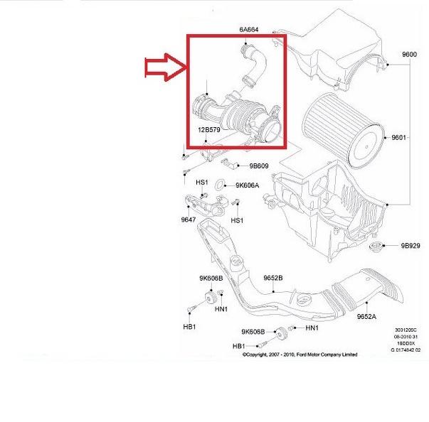 Turbo tubo dell/'aria di TUBO FORD FOCUS C-MAX 1.6 TDCi 72100865