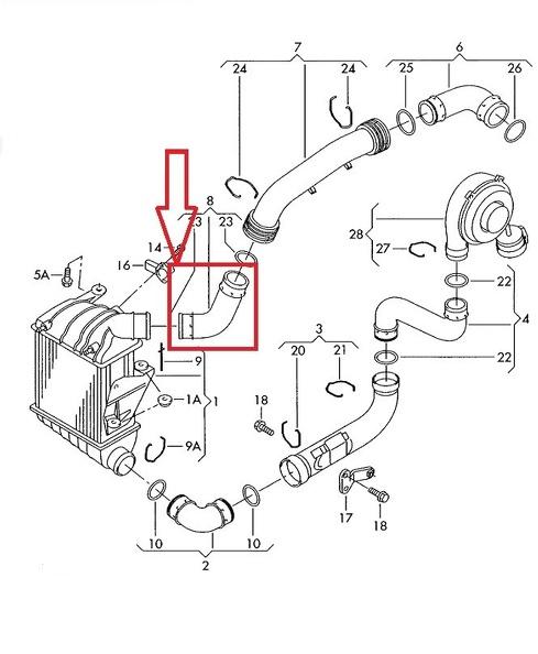 Turbo Intercooler Tubo per SEAT IBIZA Mk4 CORDOBA Mk5 6Q0145822