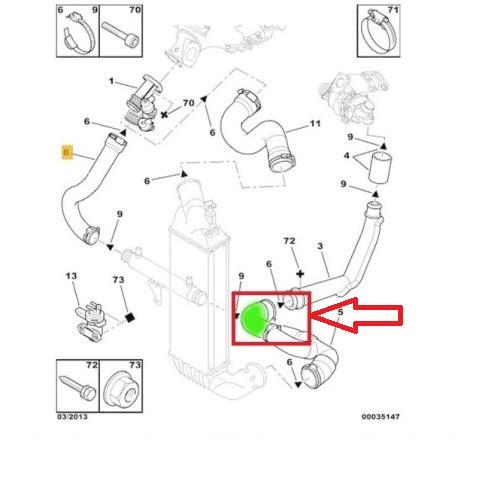 Ladeluftschlauch CITROEN C8 PEUGEOT 807 FIAT Ulysse LANCIA Phedra 2.2D  0382X3